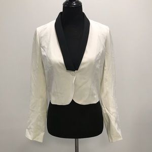 UO Sparkle&Fade Ivory Jacket with Black Lapel